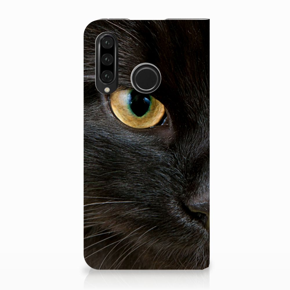Huawei P30 Lite Uniek Standcase Hoesje Zwarte Kat