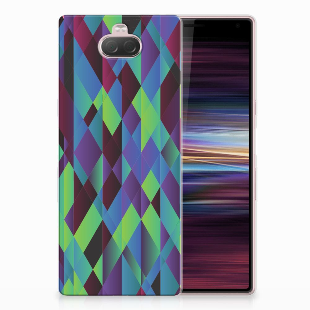 Sony Xperia 10 TPU Hoesje Abstract Green Blue