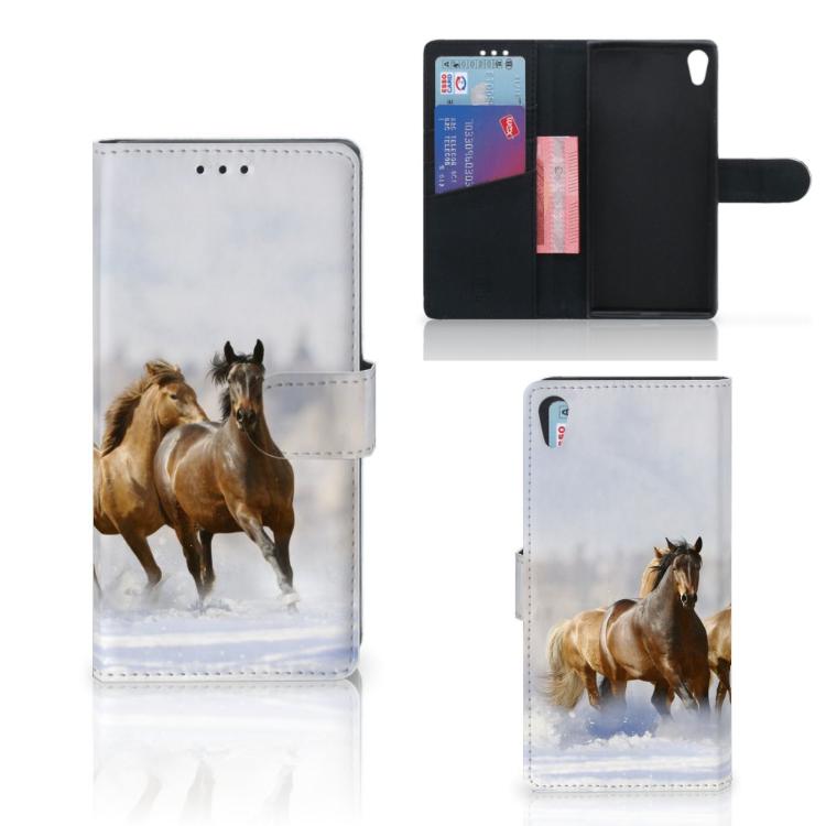 Sony Xperia XA1 Ultra Telefoonhoesje met Pasjes Paarden