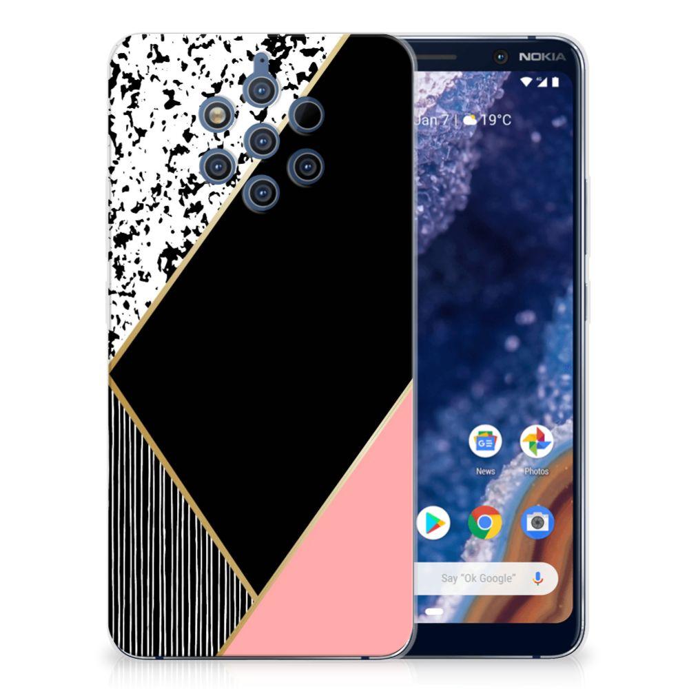 Nokia 9 PureView TPU Hoesje Zwart Roze Vormen