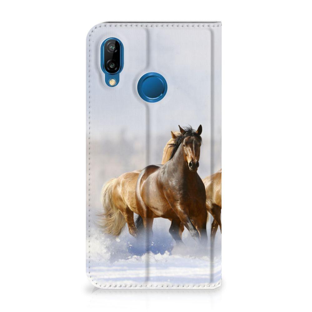 Huawei P20 Lite Uniek Standcase Hoesje Paarden