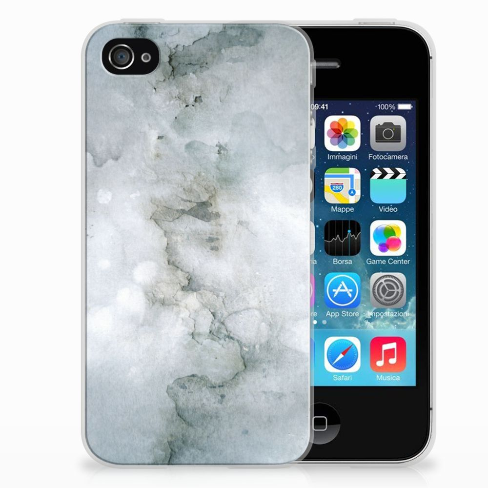 Apple iPhone 4 | 4s Uniek TPU Hoesje Painting Grey