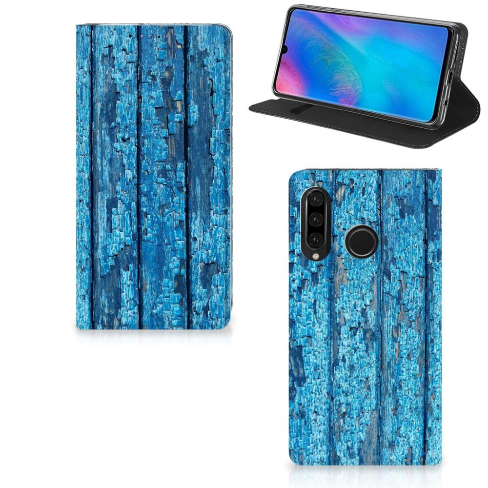 Huawei P30 Lite Book Wallet Case Wood Blue