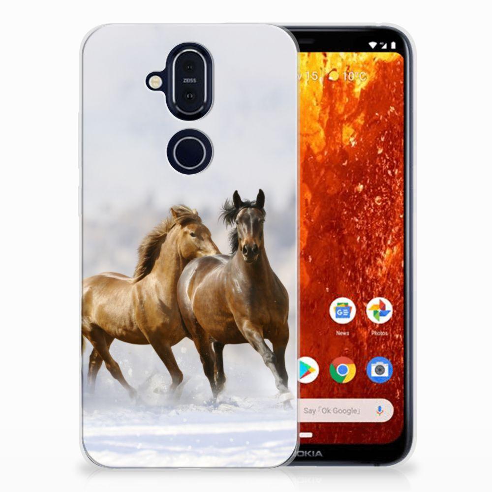 Nokia 8.1 Uniek TPU Hoesje Paarden