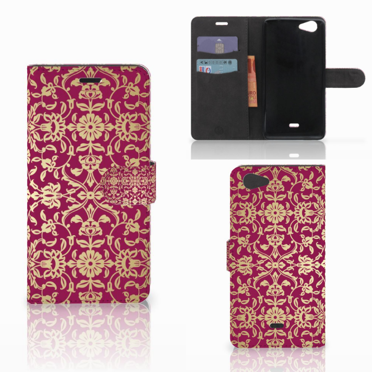Wallet Case Wiko Pulp Fab 4G Barok Pink