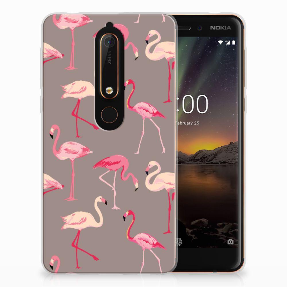 Nokia 6 (2018) Uniek TPU Hoesje Flamingo