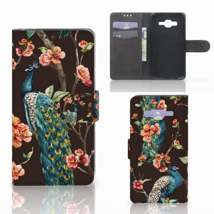 Samsung Galaxy J5 (2015) Telefoonhoesje met Pasjes Pauw met Bloemen