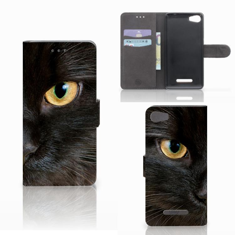 Wiko Lenny 2 Telefoonhoesje met Pasjes Zwarte Kat