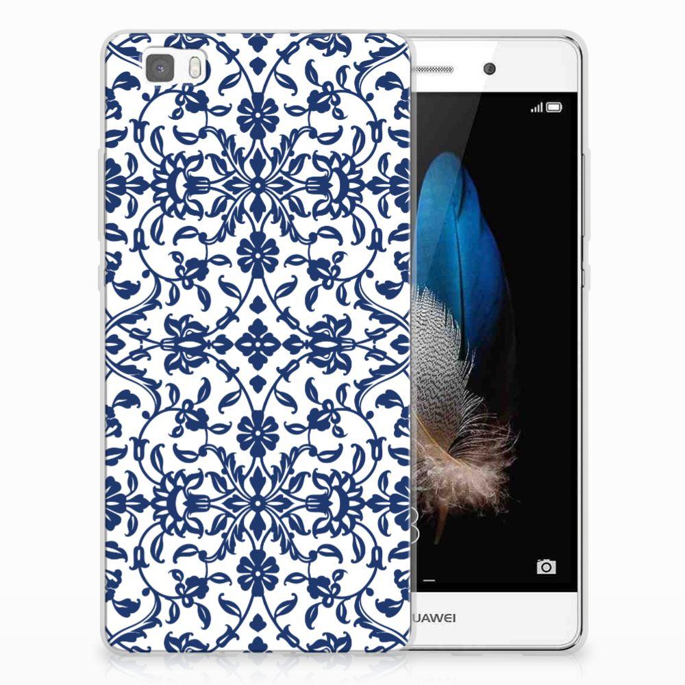 Huawei Ascend P8 Lite Uniek TPU Hoesje Flower Blue