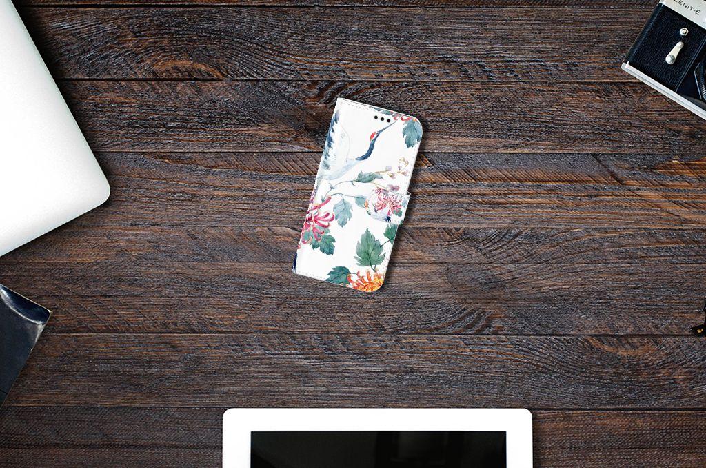 Samsung Galaxy A5 2017 Uniek Boekhoesje Bird Flowers