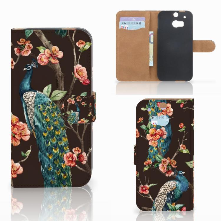 HTC One M8 Telefoonhoesje met Pasjes Pauw met Bloemen