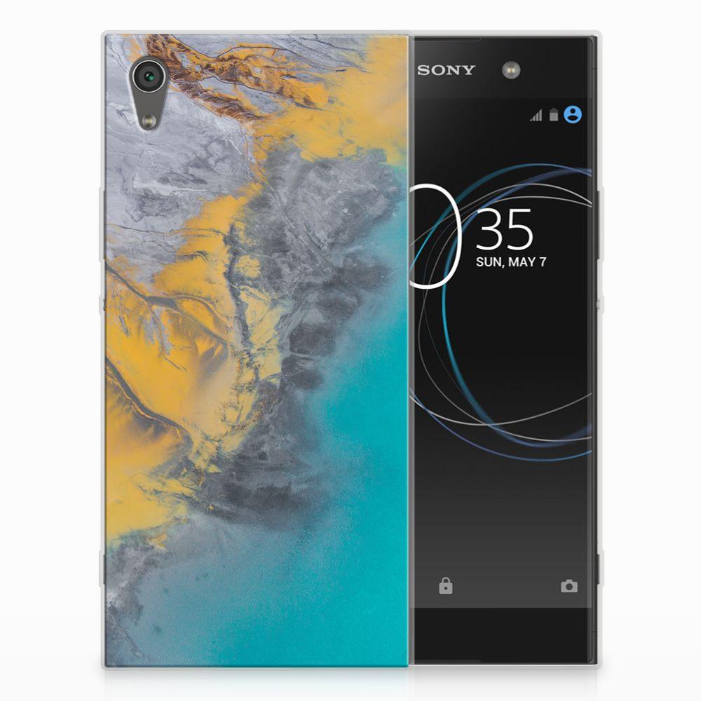 Sony Xperia XA1 Ultra TPU Hoesje Design Marble Blue Gold