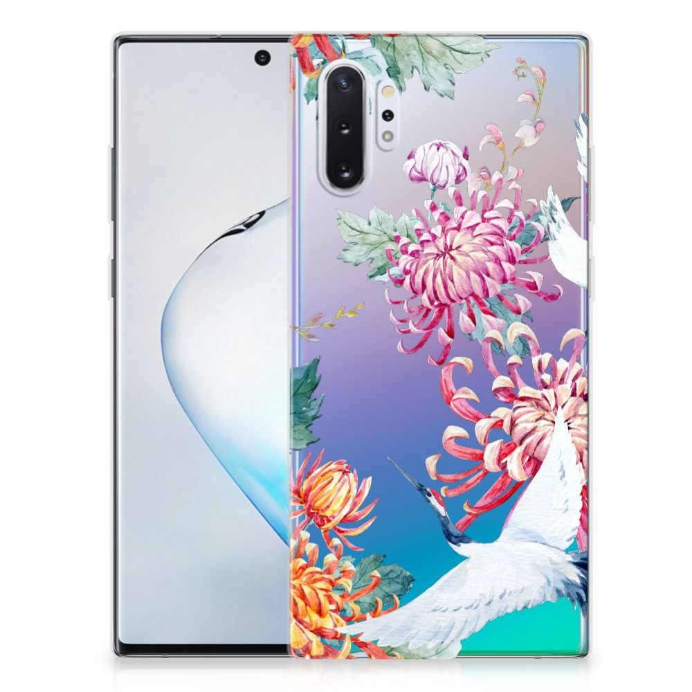 Samsung Galaxy Note 10 Plus TPU Hoesje Bird Flowers