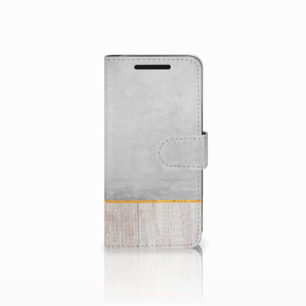 HTC One M9 Uniek Boekhoesje Wood Concrete