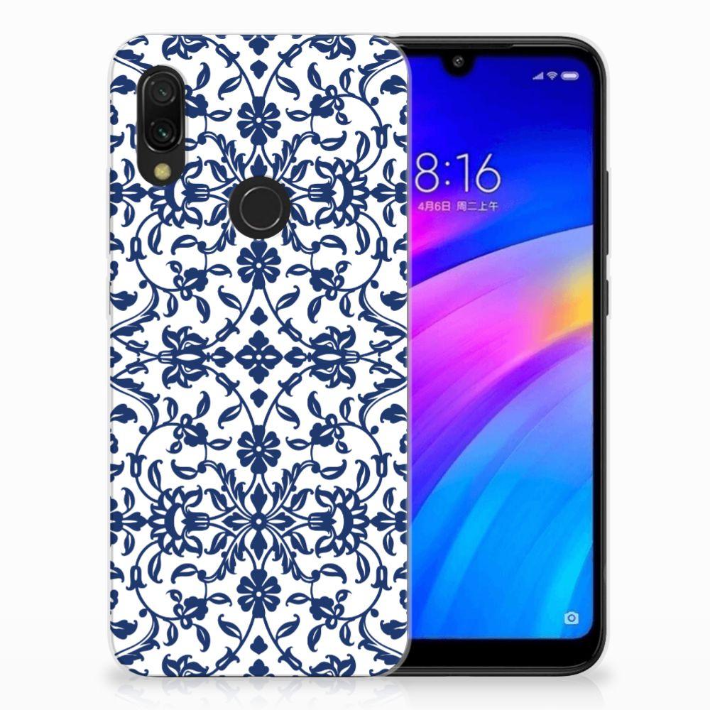 Xiaomi Redmi 7 TPU Hoesje Flower Blue