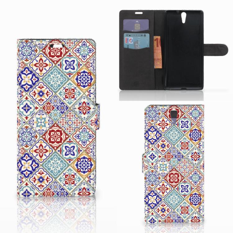 Sony Xperia C5 Ultra Bookcase Tiles Color