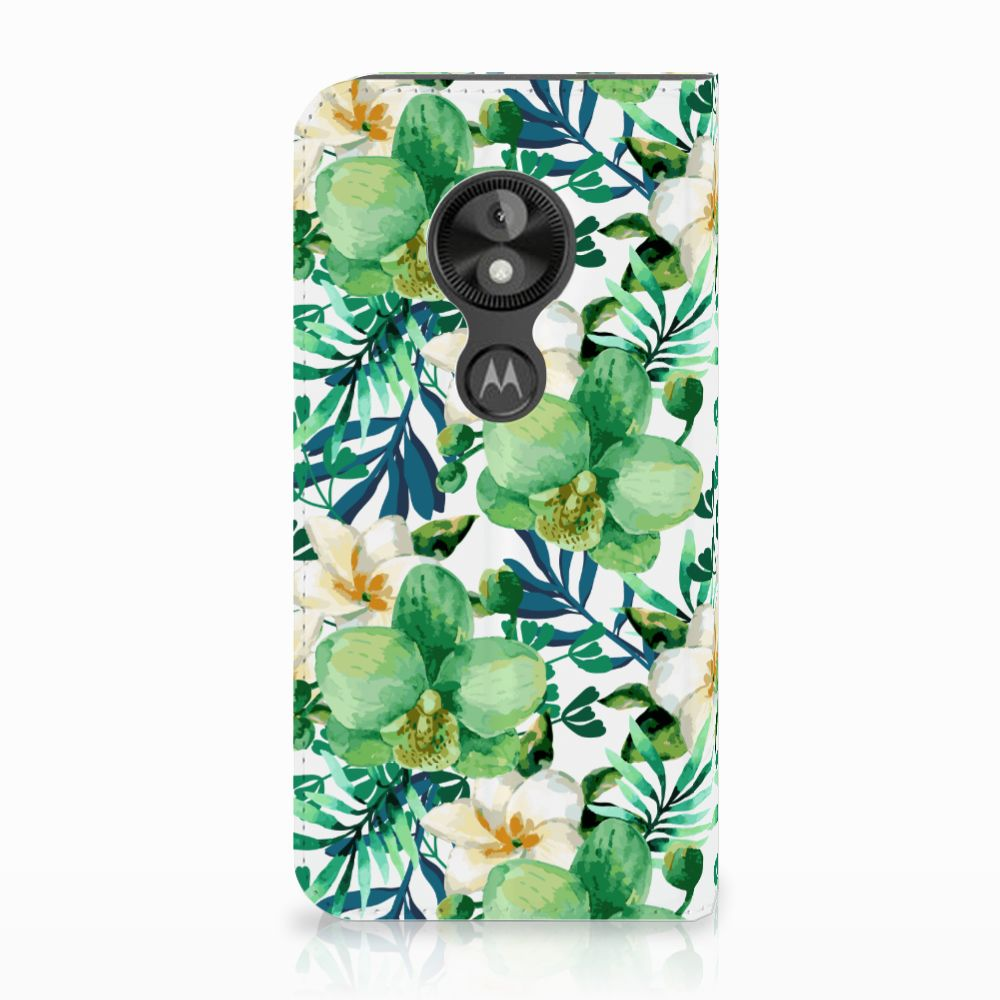 Motorola Moto E5 Play Uniek Standcase Hoesje Orchidee Groen
