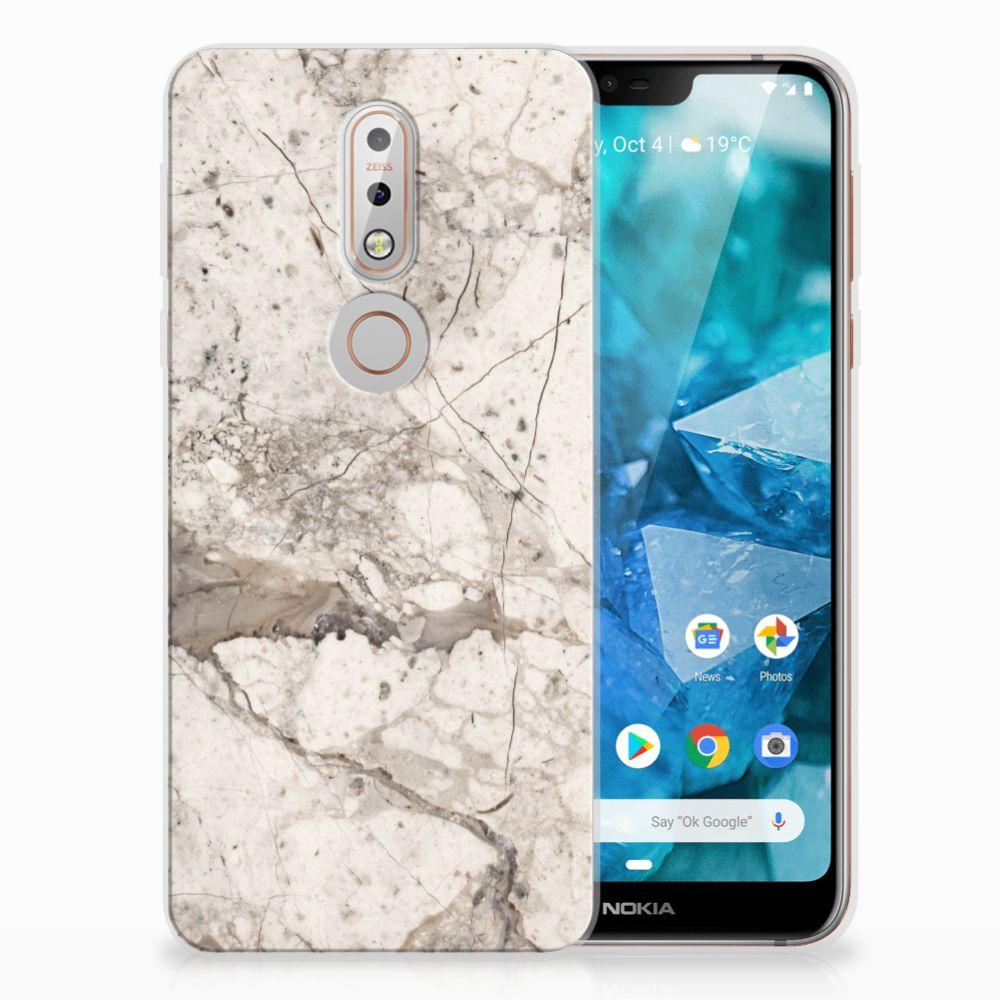 Nokia 7.1 TPU Hoesje Design Marmer Beige