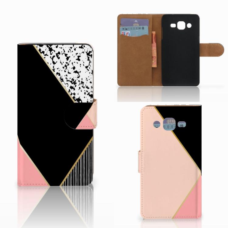 Samsung Galaxy J2 (2015) Bookcase Zwart Roze Vormen