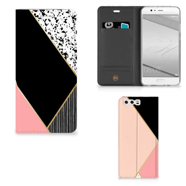 Huawei P10 Plus Stand Case Zwart Roze Vormen