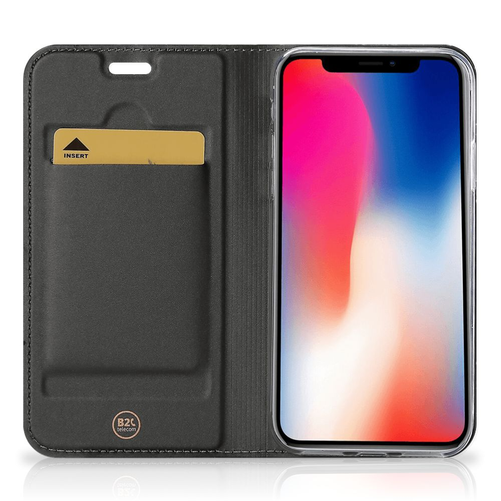 Apple iPhone X | Xs Standcase Hoesje Marmer Zwart