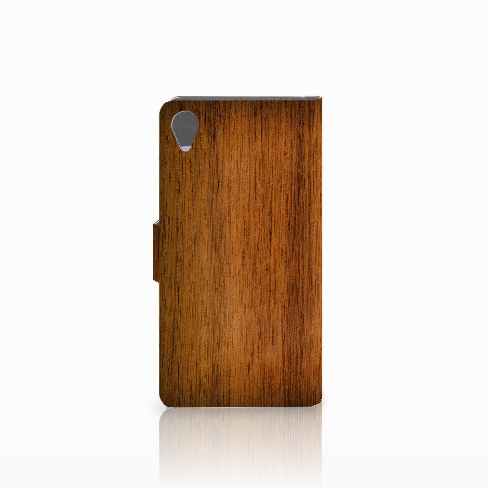 Sony Xperia X Book Style Case Donker Hout