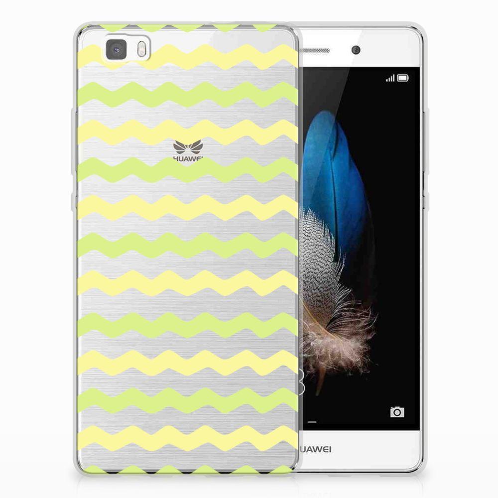 Huawei Ascend P8 Lite Uniek TPU Hoesje Waves Yellow