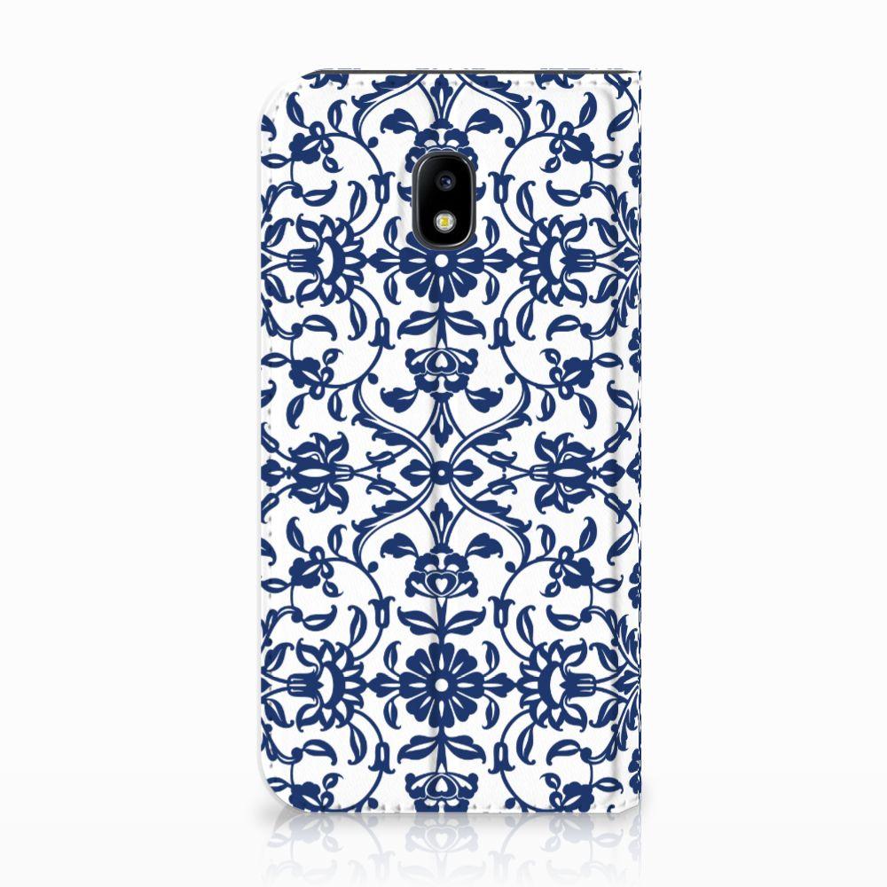 Samsung Galaxy J3 2017 Standcase Hoesje Flower Blue