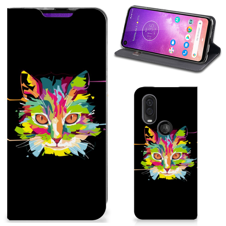 Motorola One Vision Magnet Case Cat Color