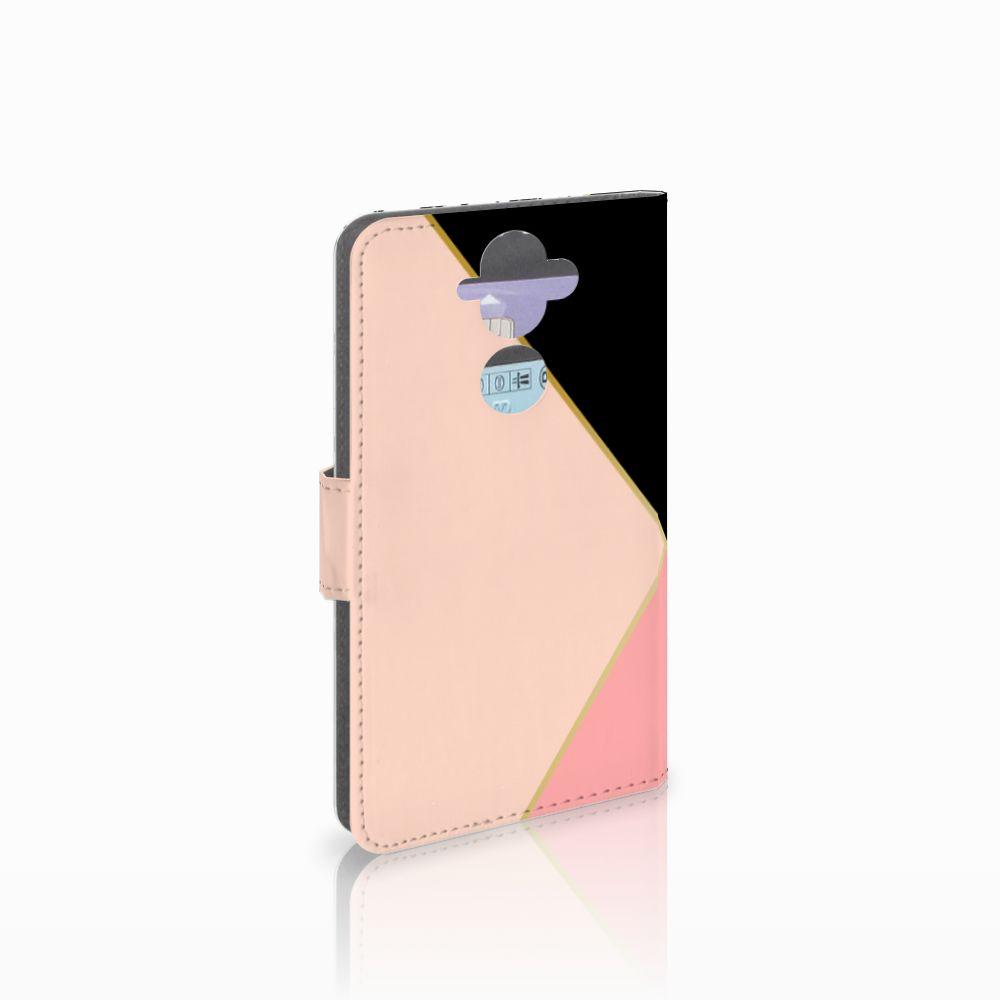 Nokia 8 Sirocco | Nokia 9 Boekhoesje Black Pink Shapes