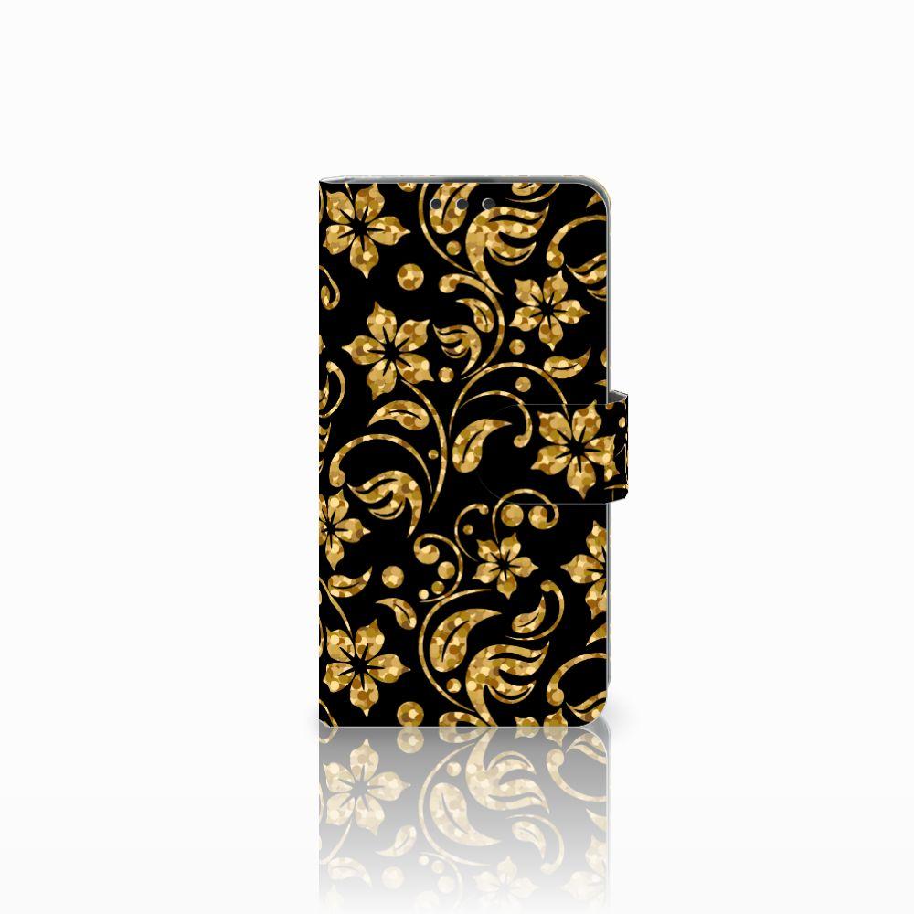 Microsoft Lumia 535 Boekhoesje Design Gouden Bloemen