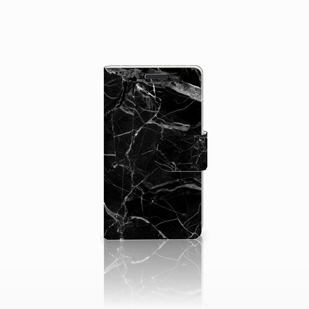 Microsoft Lumia 435 Uniek Boekhoesje Marmer Zwart