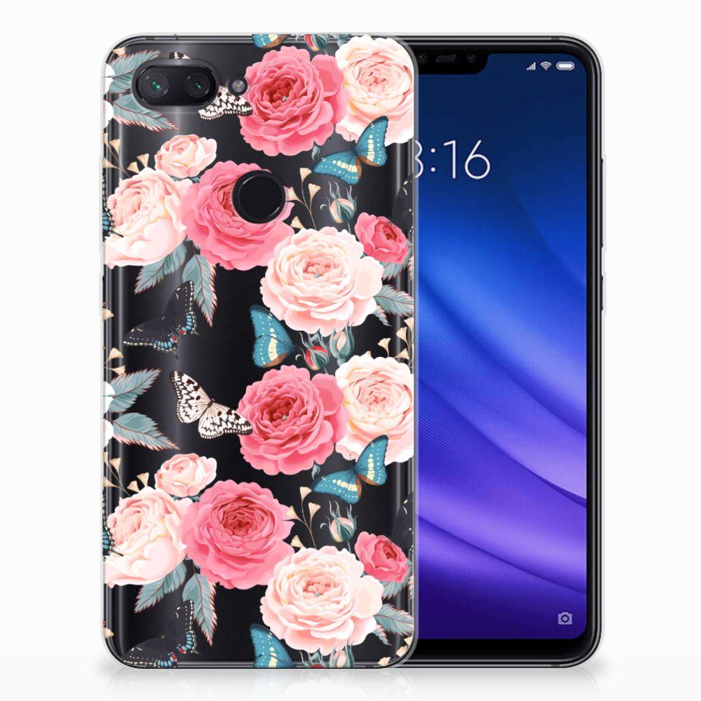 Xiaomi Mi 8 Lite Uniek TPU Hoesje Butterfly Roses