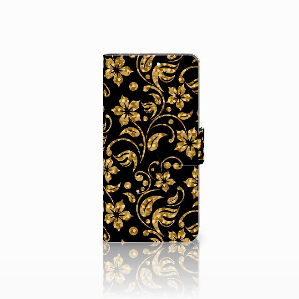 Honor 9 Boekhoesje Design Gouden Bloemen