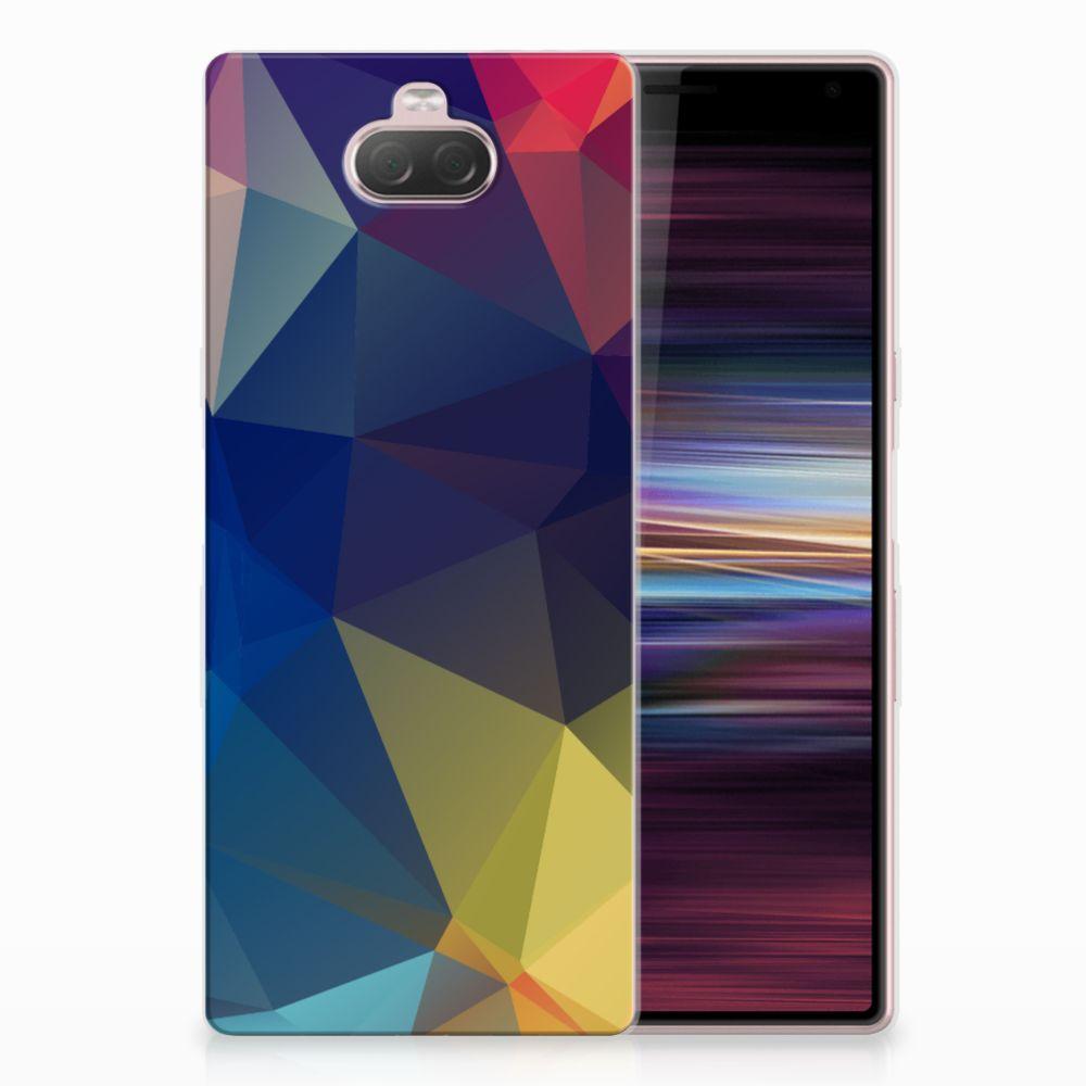 Sony Xperia 10 TPU Hoesje Polygon Dark