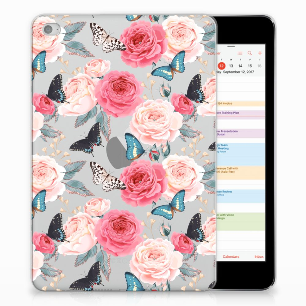 Apple iPad Mini 4 | Mini 5 (2019) Siliconen Hoesje Butterfly Roses