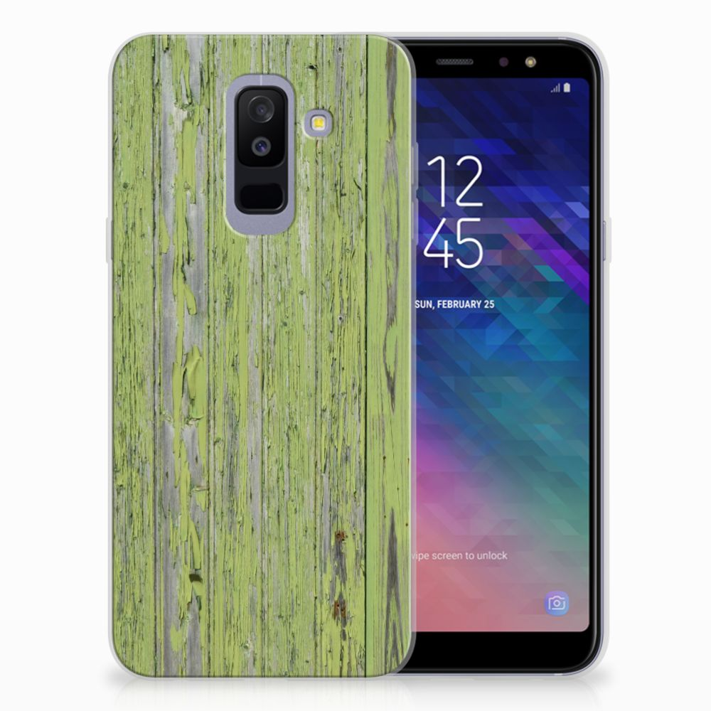 Samsung Galaxy A6 Plus (2018) TPU Hoesje Design Green Wood