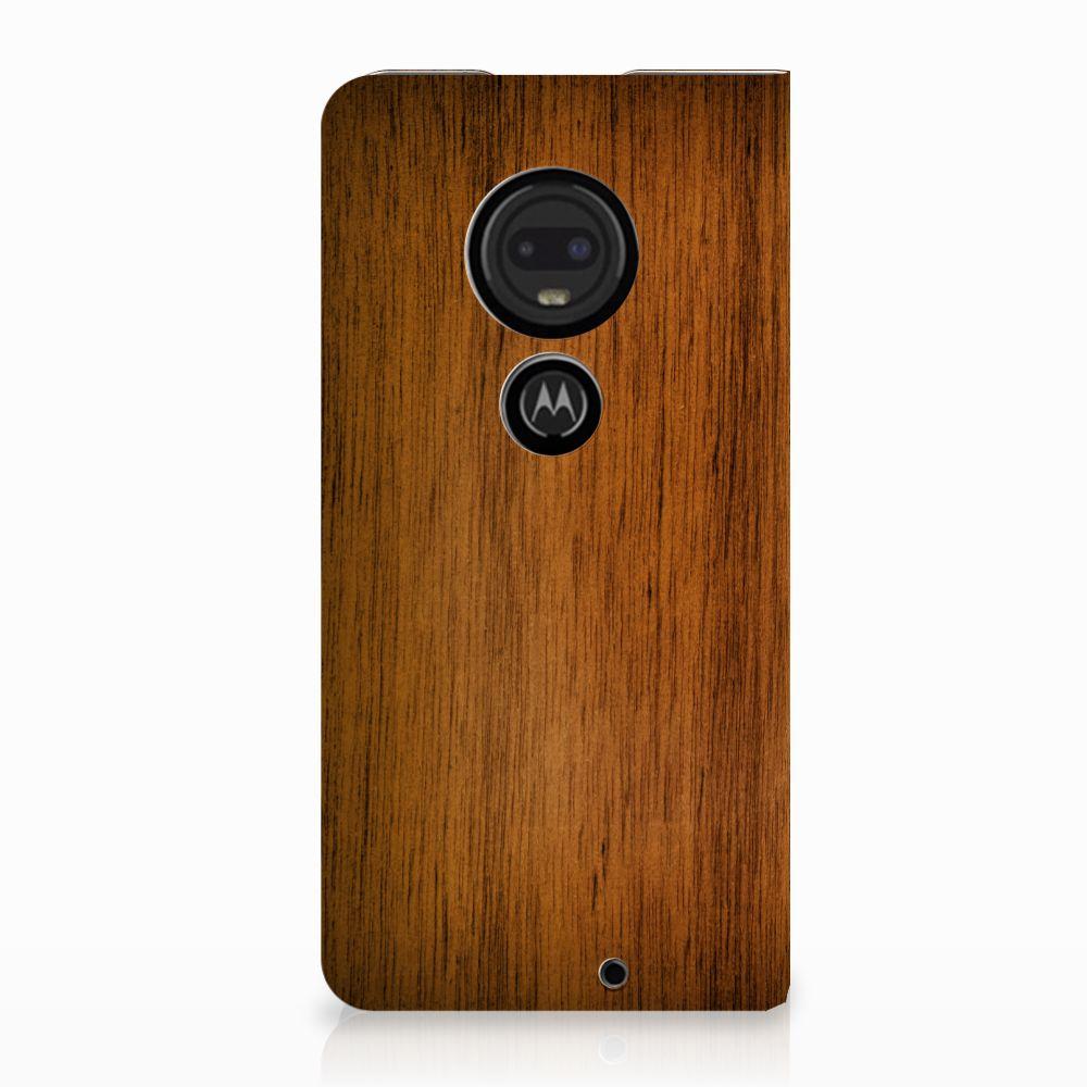 Motorola Moto G7 | G7 Plus Uniek Standcase Hoesje Donker Hout