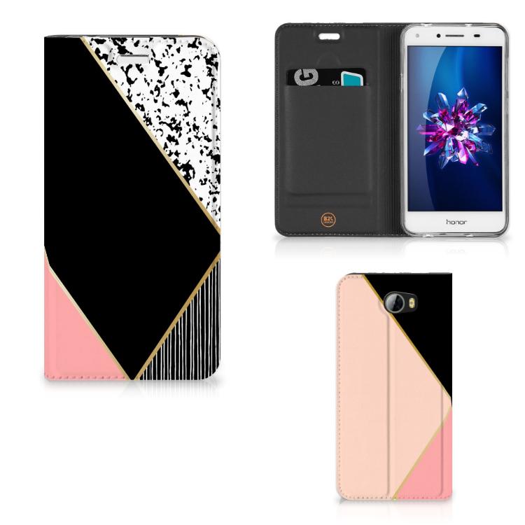 Huawei Y5 2 | Y6 Compact Stand Case Zwart Roze Vormen
