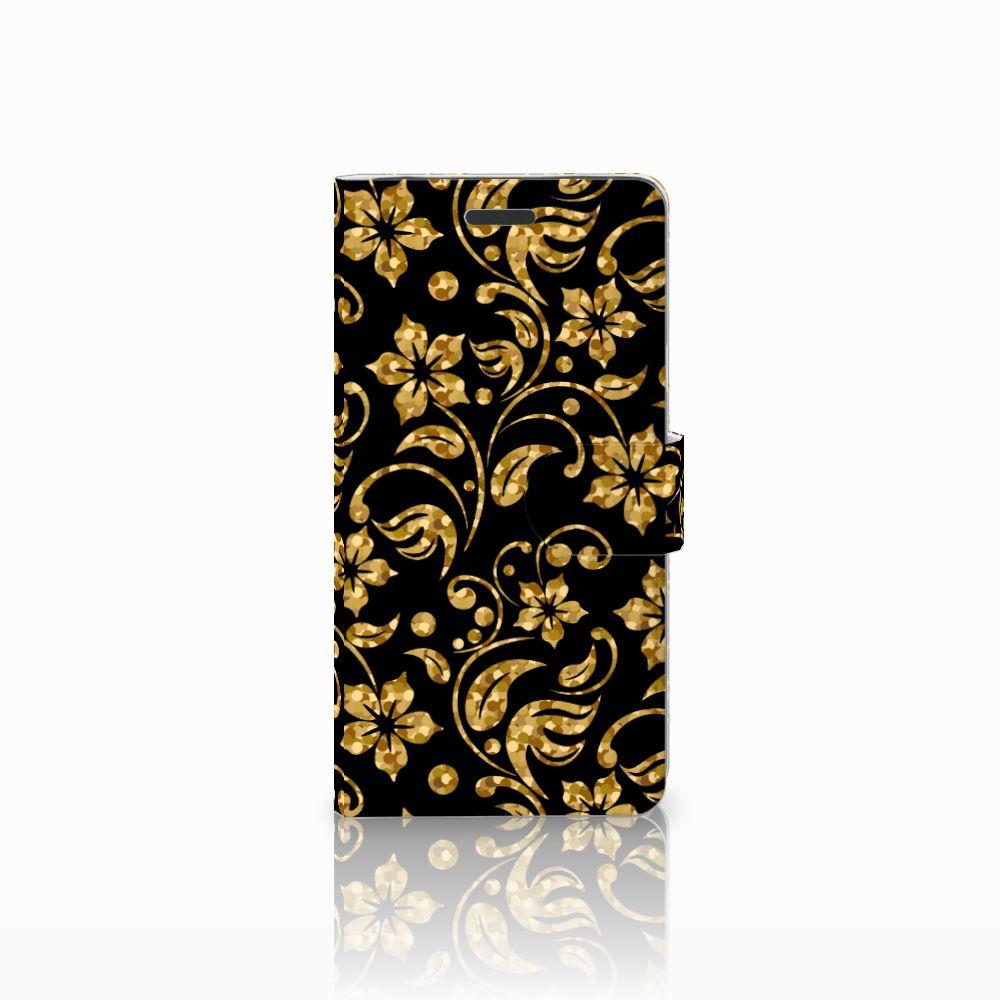 Samsung Galaxy Note 5 Boekhoesje Design Gouden Bloemen