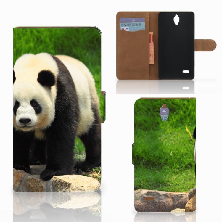 Huawei Ascend G700 Telefoonhoesje met Pasjes Panda