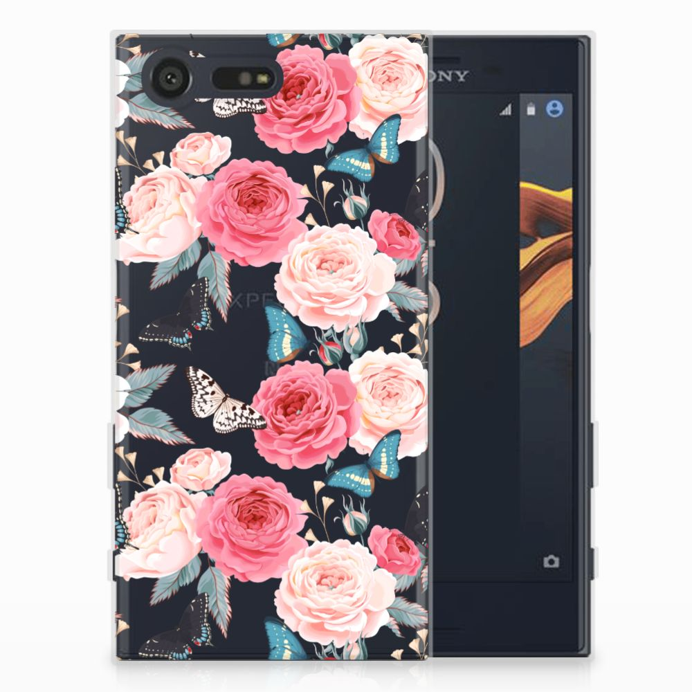 Sony Xperia X Compact Uniek TPU Hoesje Butterfly Roses