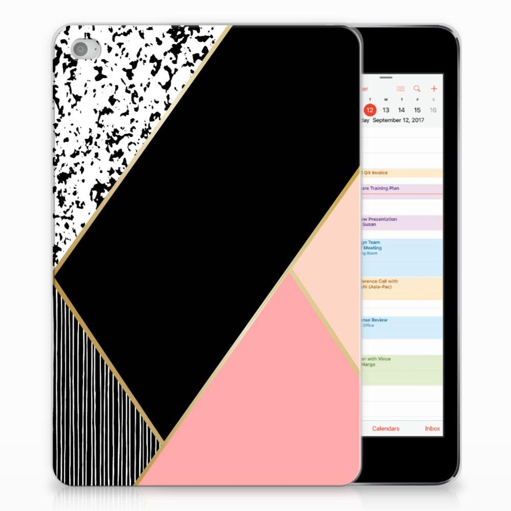 Apple iPad Mini 4   Mini 5 (2019) Back Cover Zwart Roze Vormen