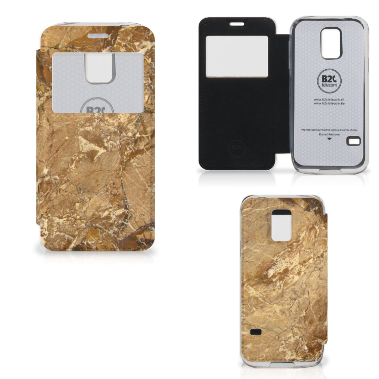 Samsung Galaxy S5 Mini Bookcase Marmer Creme