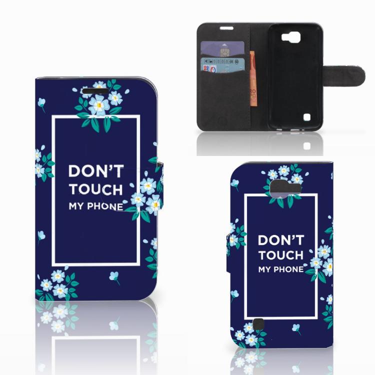 LG K4 Portemonnee hoesje Flowers Blue DTMP