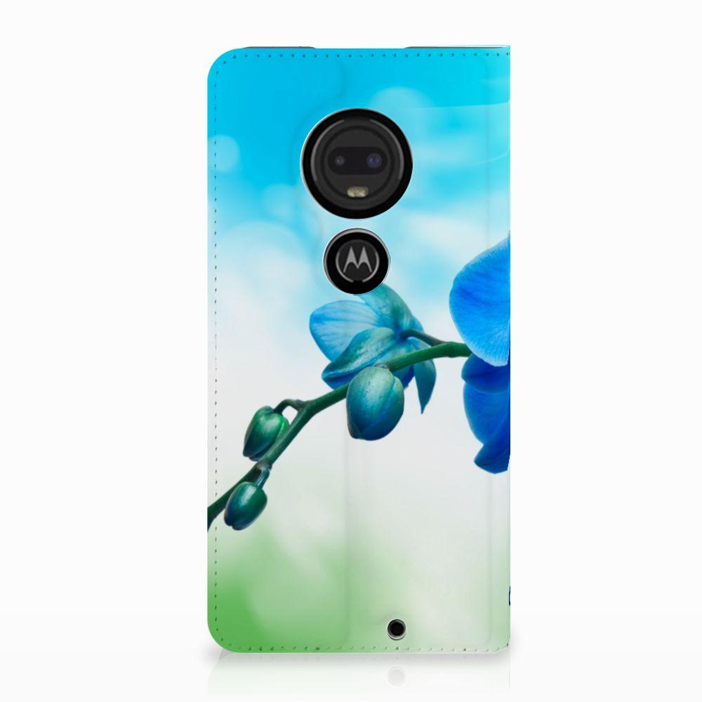 Motorola Moto G7 | G7 Plus Standcase Hoesje Design Orchidee Blauw