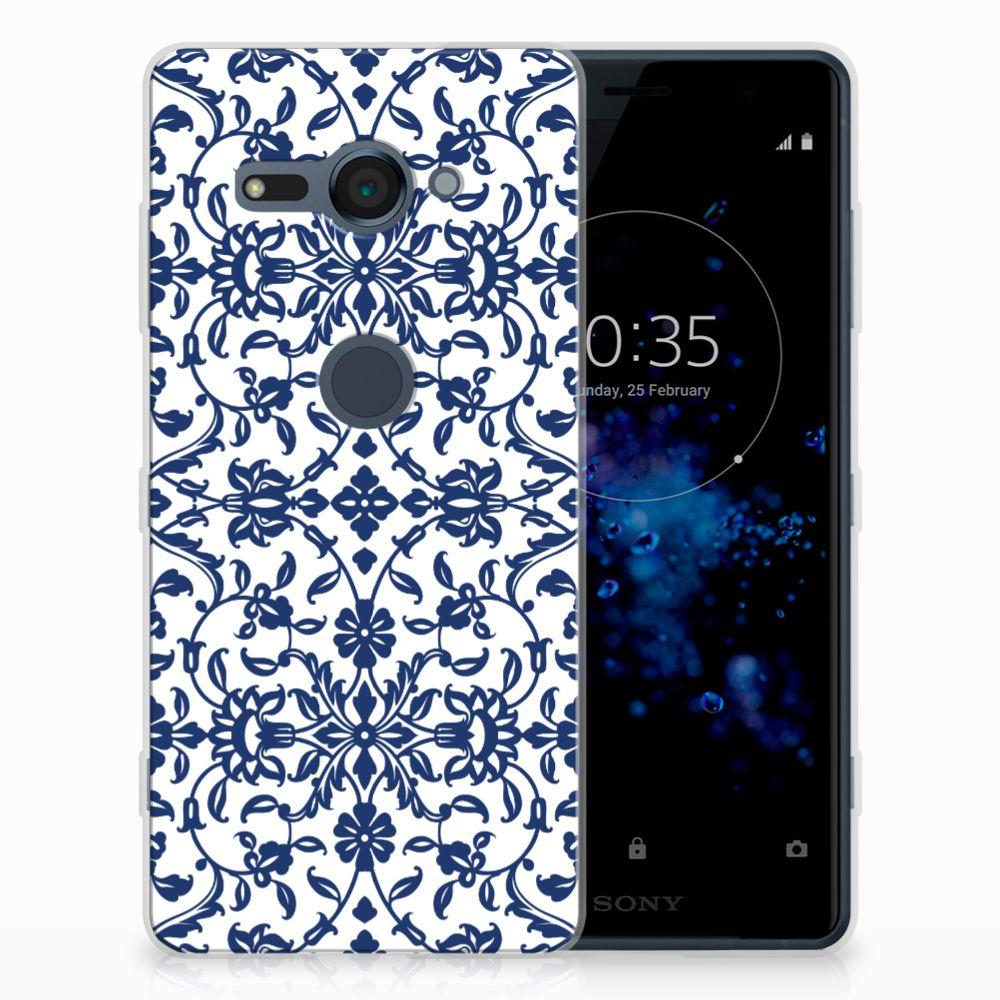 Sony Xperia XZ2 Compact TPU Hoesje Flower Blue