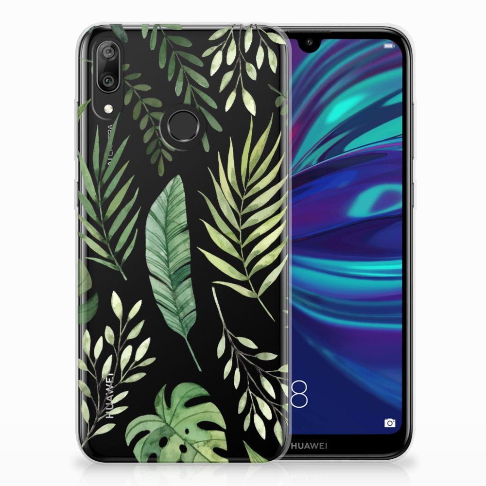 Huawei Y7 2019 Uniek TPU Hoesje Leaves