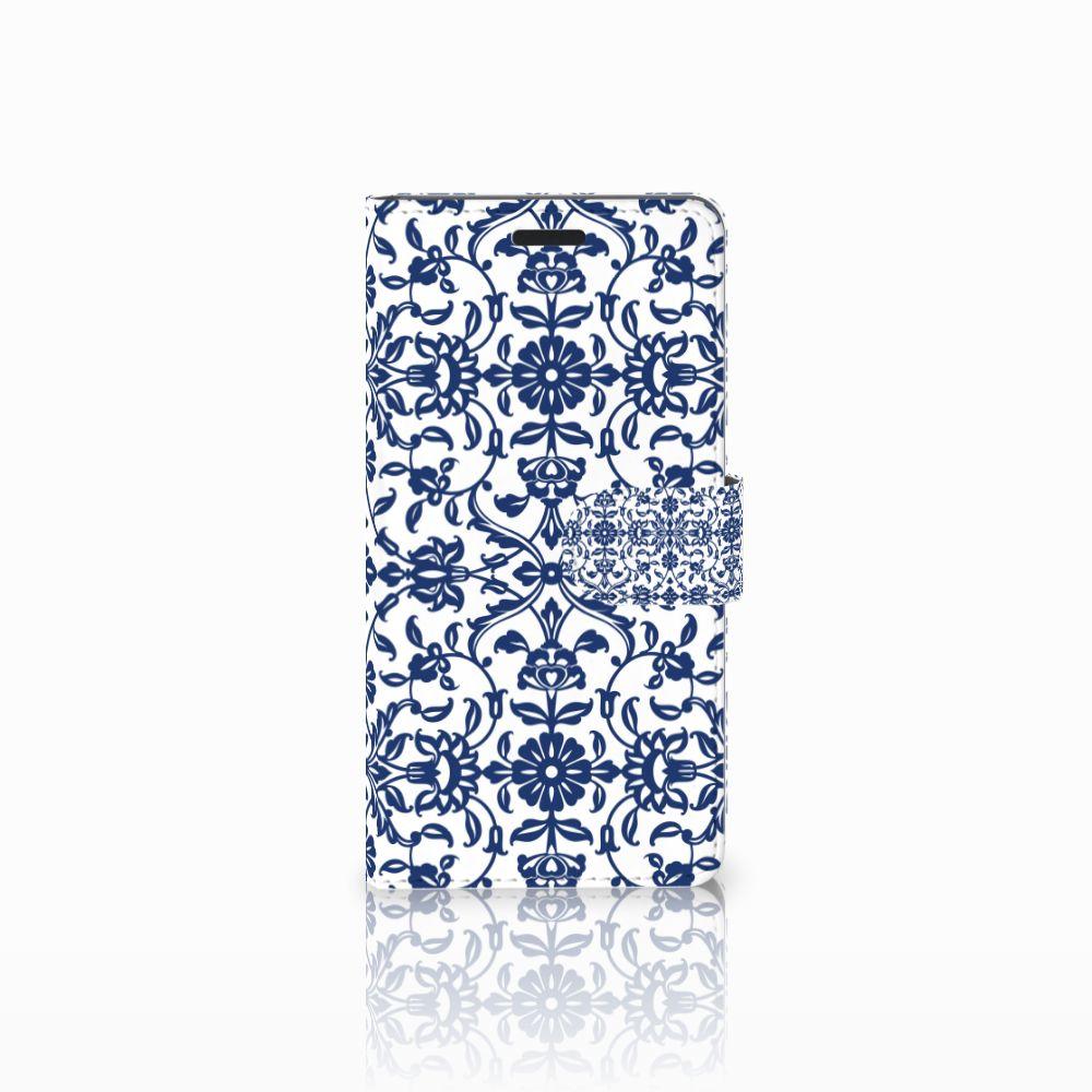 Samsung Galaxy A7 2015 Uniek Boekhoesje Flower Blue