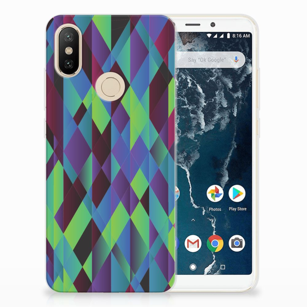Xiaomi Mi A2 TPU Hoesje Abstract Green Blue